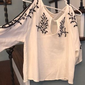 Hollister White and Navy Top